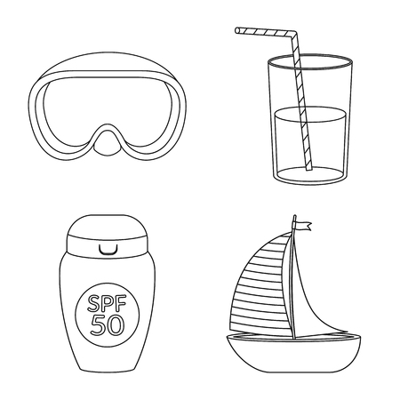 Vector illustration of equipment and swimming sign. Set of equipment and activity vector icon for stock.