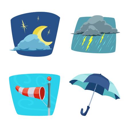 Vektordesign von Wetter- und Klimazeichen. Sammlung von Wetter- und Wolkenvektorsymbolen für Aktien.