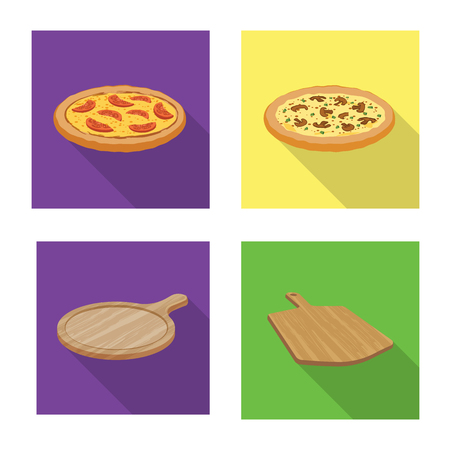 Vector illustration of pizza and food icon. Collection of pizza and italy vector icon for stock.