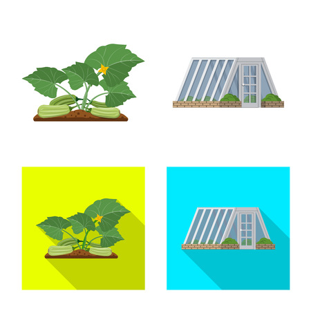 Vector illustration of greenhouse and plant sign. Set of greenhouse and garden stock vector illustration. Ilustracja