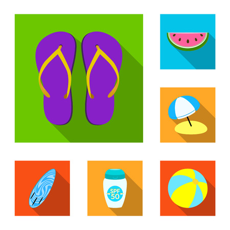 Vector design of equipment and swimming sign. Collection of equipment and activity stock vector illustration.