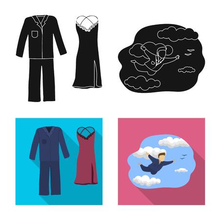 Vector illustration of dreams and night symbol. Collection of dreams and bedroom stock vector illustration. Illustration