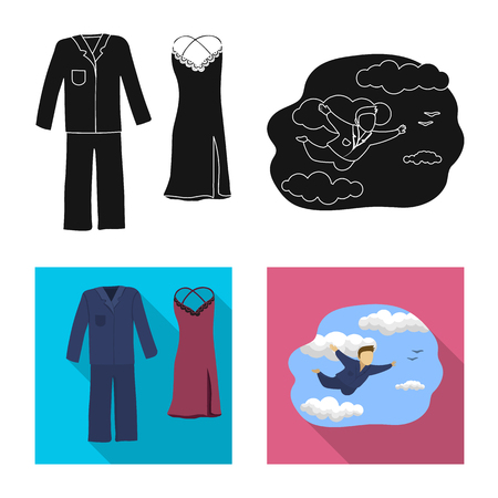 Vector illustration of dreams and night symbol. Collection of dreams and bedroom stock vector illustration.  イラスト・ベクター素材
