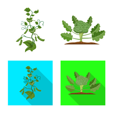 Vector illustration of greenhouse and plant sign. Set of greenhouse and garden vector icon for stock. Stock Illustratie