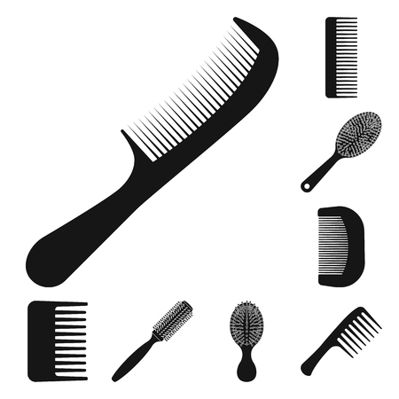 Isolated object of brush and hair symbol. Collection of brush and hairbrush vector icon for stock.