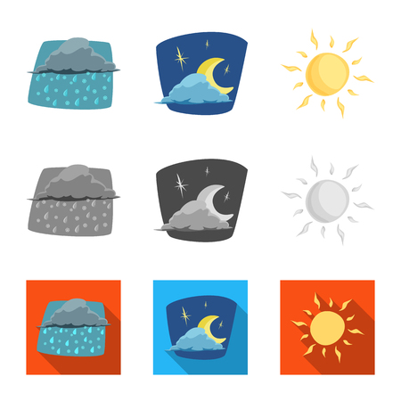 Vector design of weather and climate logo. Set of weather and cloud stock symbol for web.