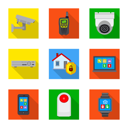 Vector design of office and house symbol. Collection of office and system vector icon for stock. Illustration