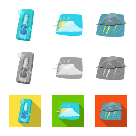 Isolated object of weather and climate sign. Set of weather and cloud vector icon for stock.