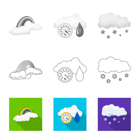 Vector illustration of weather and climate sign. Collection of weather and cloud stock symbol for web.