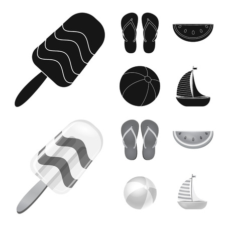 Vector illustration of equipment and swimming icon. Set of equipment and activity vector icon for stock.