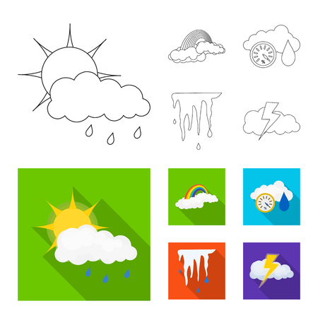 Vector design of weather and climate icon. Set of weather and cloud vector icon for stock.