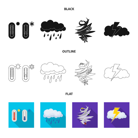 Isolated object of weather and climate logo. Collection of weather and cloud stock symbol for web.  イラスト・ベクター素材