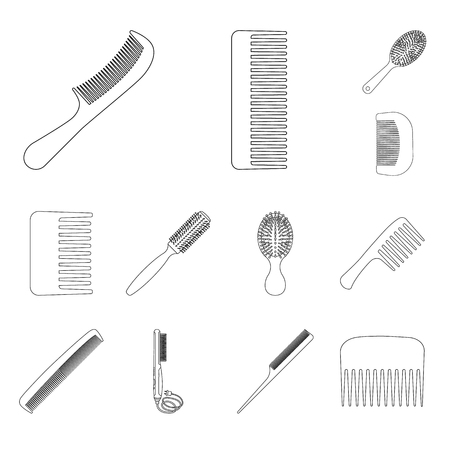 Isolated object of brush and hair logo. Set of brush and hairbrush stock symbol for web.