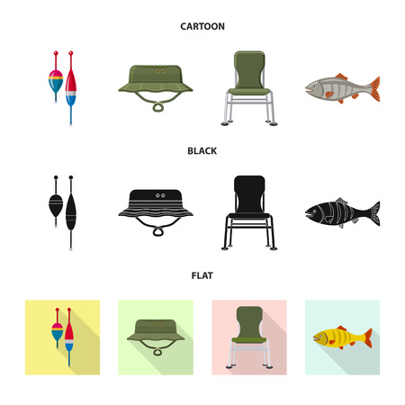 Vector design of fish and fishing sign. Set of fish and equipment vector icon for stock.