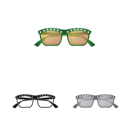 Vector illustration of glasses and sunglasses icon. Set of glasses and accessory vector icon for stock.