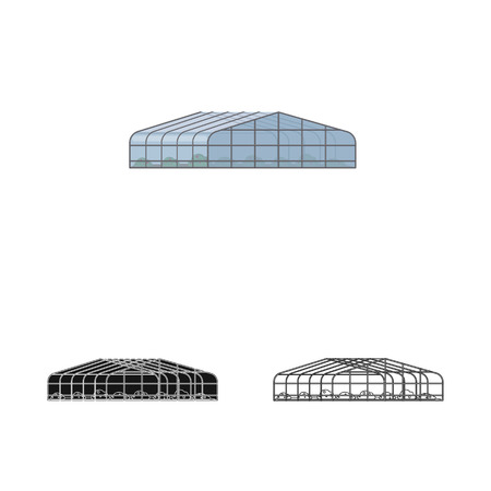 Isolated object of greenhouse and plant symbol. Collection of greenhouse and garden stock vector illustration. Stock Illustratie