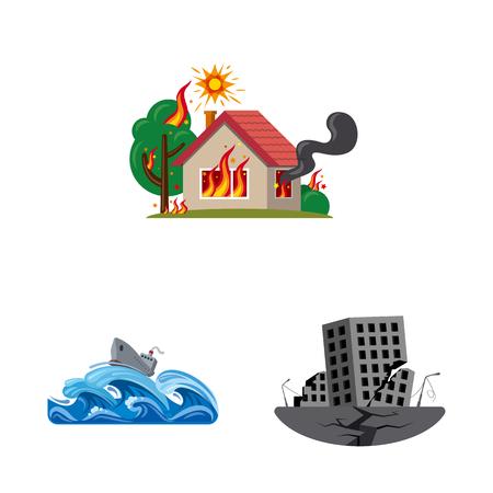 Disegno vettoriale di icona naturale e disastro. Set di simbolo di borsa naturale e rischio per il web. Vettoriali