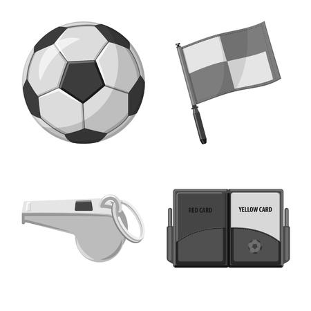 Objeto aislado del fútbol y el icono de engranaje. Colección de icono de vector de fútbol y torneo para stock.