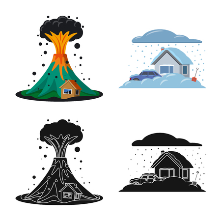 Vector illustration of natural and disaster symbol. Set of natural and risk vector icon for stock.