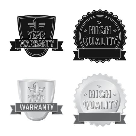 Vector illustration of emblem and badge logo. Set of emblem and sticker stock symbol for web. Çizim