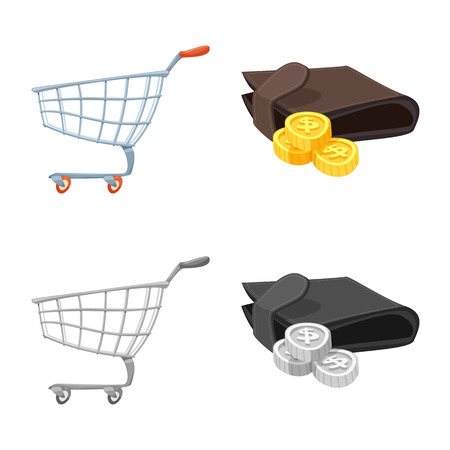 Vector illustration of food and drink logo. Collection of food and store stock symbol for web. Illustration