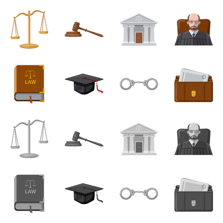Vector illustration of law and lawyer symbol. Set of law and justice vector icon for stock.