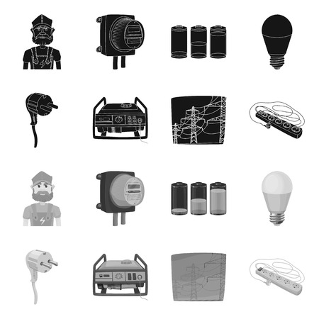 Vector design of electricity and electric icon. Collection of electricity and energy vector icon for stock.