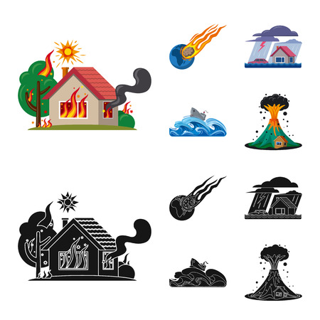 Vector illustration of natural and disaster icon. Collection of natural and risk vector icon for stock.