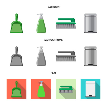 Isolated object of cleaning and service icon. Set of cleaning and household stock vector illustration.