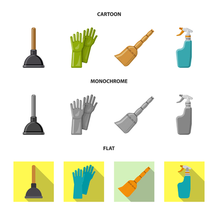Vector illustration of cleaning and service icon. Collection of cleaning and household vector icon for stock. Vetores