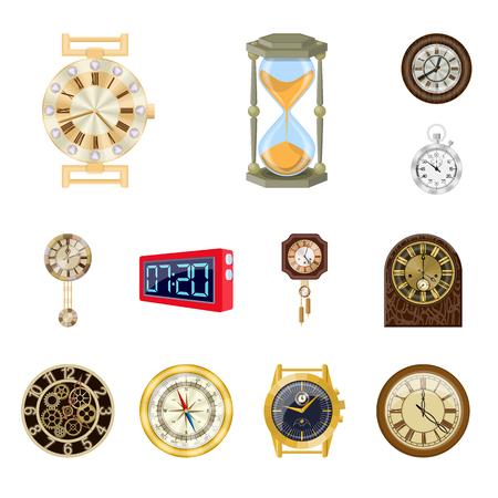 Vektordesign der Uhr und des Zeitsymbols. Sammlung von Uhr und Kreisvektorikone für Lager. Vektorgrafik