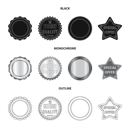 Isolated object of emblem and badge logo. Collection of emblem and sticker stock symbol for web.