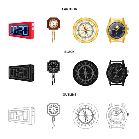 Vector illustration of clock and time sign. Set of clock and circle vector icon for stock.