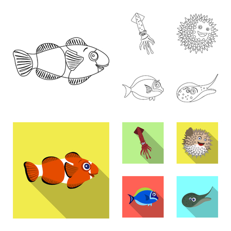 Isolated object of sea and animal symbol. Set of sea and marine vector icon for stock.