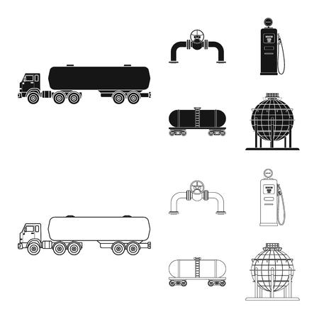 Vektordesign des Öl- und Gaszeichens. Sammlung von Öl- und Benzinvorratsymbol für Web.