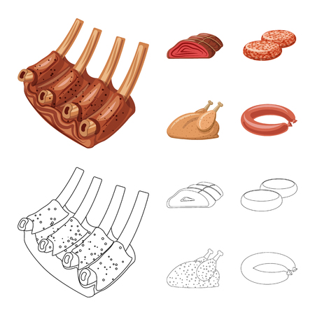 Isolated object of meat and ham symbol. Set of meat and cooking stock vector illustration.