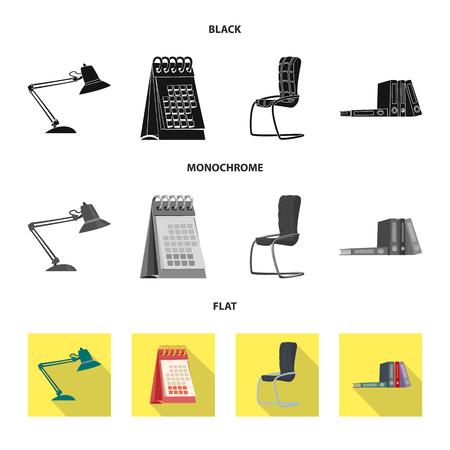 Vector design of furniture and work symbol. Set of furniture and home stock symbol for web.