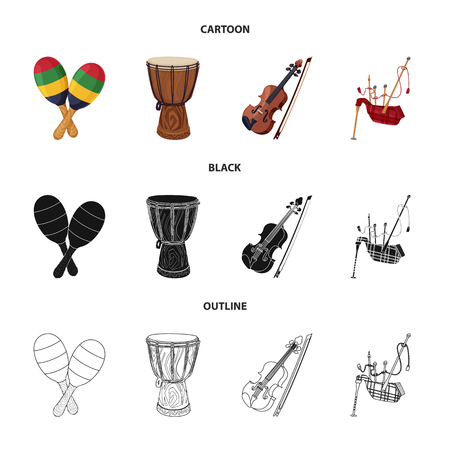 Isolated object of music and tune sign. Set of music and tool stock symbol for web. Banque d'images - 114155288