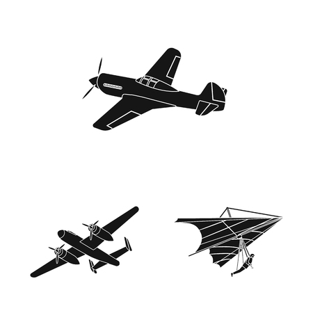Vector design of plane and transport sign. Set of plane and sky stock symbol for web. Illustration