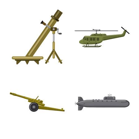 Vector design of weapon and gun symbol. Set of weapon and army stock symbol for web. Stock Vector - 114186672