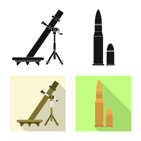 Vector illustration of weapon and gun. Set of weapon and army stock symbol for web. Illustration