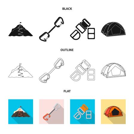 Isoliertes Objekt des Bergsteigens und des Spitzenzeichens. Sammlung von Bergsteigen und Lagervektorikone für Lager.