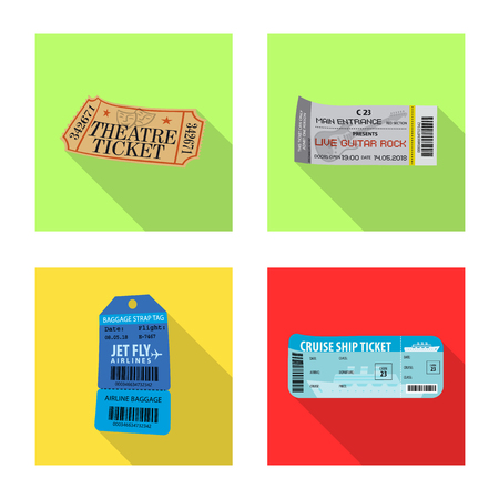Isolated object of ticket and admission sign. Collection of ticket and event stock vector illustration.