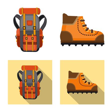 Vektorillustration des Bergsteigens und der Spitzenikone. Sammlung von Bergsteiger- und Lagerbestandsvektorillustration.