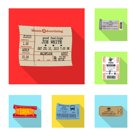 Isolated object of ticket and admission symbol. Set of ticket and event vector icon for stock.