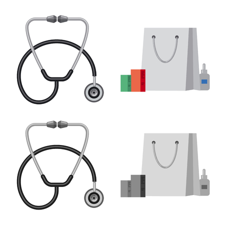 Vector design of pharmacy and hospital symbol. Collection of pharmacy and business stock symbol for web.