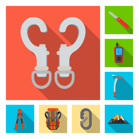 Isolated object of mountaineering and peak logo. Set of mountaineering and camp vector icon for stock. Ilustrace