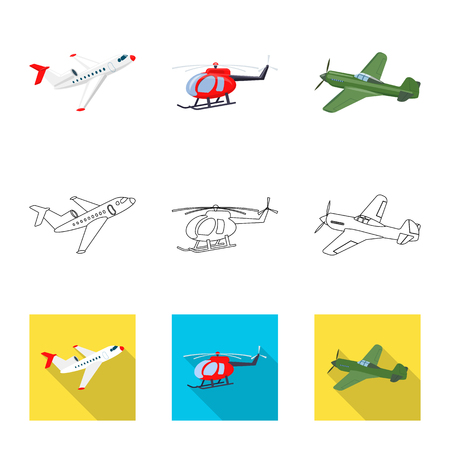 Vector illustration of plane and transport logo. Set of plane and sky stock vector illustration. 일러스트