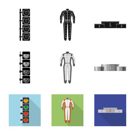 Diseño vectorial de icono de coche y rally. Colección de ilustración vectorial de stock de coches y carreras. Ilustración de vector