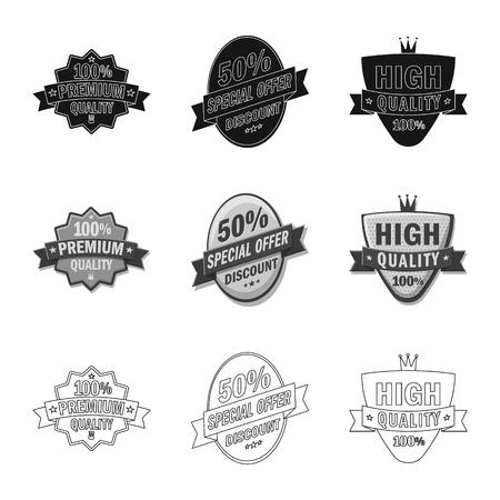 Vector design of emblem and badge sign. Set of emblem and sticker stock symbol for web. Çizim